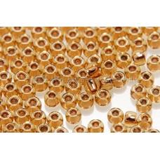 2mm日本珠琥珀色玻璃內鑲-桔金色--5g