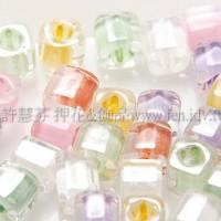 3mm方管日本珠晶亮玻璃內鑲各色--10g