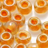 4mm日本珠-淡黃玻璃內鑲菊色-10g