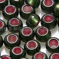 4mm日本珠-軍服綠玻璃內鑲桃紅色-10g