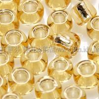 4mm日本珠-金黃玻璃內鑲金箔色-10g