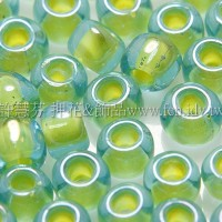 4mm日本珠-淡藍玻璃內鑲霧面黃綠色-10g
