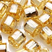 4mm方管日本珠金黃玻璃內鑲金箔色--10g
