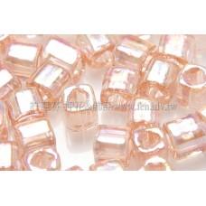 4mm方管日本珠珠光七彩水蜜桃粉紅色--10g