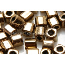 4mm方管日本珠金屬光-可可金色--10g