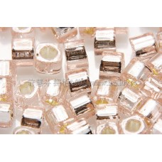 3mm方管日本珠淡粉紅玻璃內鑲玫瑰金色--10g