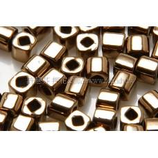 3mm方管日本珠金屬光-可可金色--10g