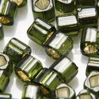 3mm方管日本珠晶亮玻璃內鑲水草綠色--10g
