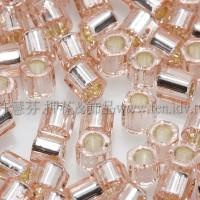 3mm方管日本珠水蜜桃灌銀色--10g