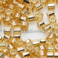 2mm短管日本珠黃水晶灌銀色10g