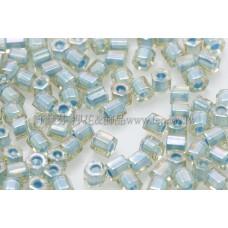 2mm短管日本珠彩虹黃水晶內鑲海洋泡泡色10g