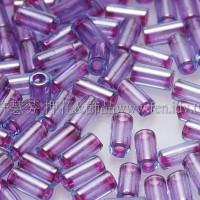 3mm短圓管日本珠水藍內鑲紫色10g