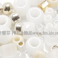 繽紛珠寶盒-白雪金銀色系混合珠--10g