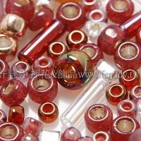 繽紛珠寶盒-酒紅色系混合珠--10g