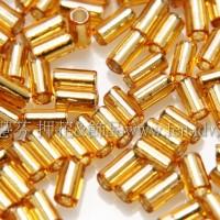 3mm短圓管日本珠晶亮玻璃內鑲金箔10g