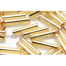 9mm長圓管日本珠晶亮金箔色10g