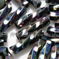 9mm日本螺旋管珠-七彩黑色10g
