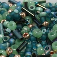 繽紛珠寶盒-典藏青瓷綠混合珠--10g