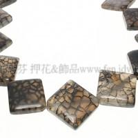 岩紋瑪瑙-方形圓弧邊-20x20mm-1個