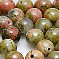 830 花綠石-圓珠- 6mm -10個