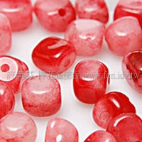 串珠材料-0796 紅白玉  3*5m -10個