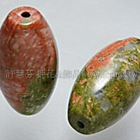 960 花綠石-長橢圓珠- 20*10mm -1個