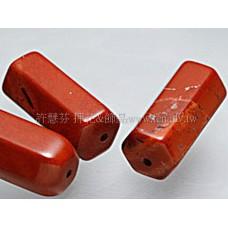 956 紅磚石-長方柱切角珠-  9*20mm -2個