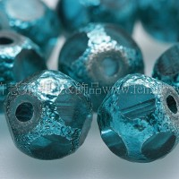 金箔透明珠-藍綠-8mm-20個