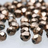 玫瑰紅金屬圓珠4mm-10個