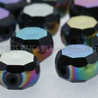 七彩光面車輪珠-黑-10*6mm-10個